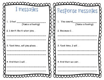 I messages and Response sheet