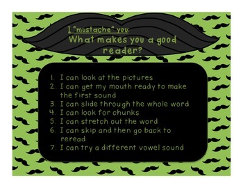 "I ""mustache"" you to use your reading strategies!"