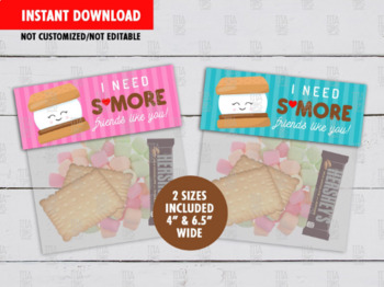 I need S'more Friends like you Treat Bag Toppers, DIY School Exchange Gift Ideas