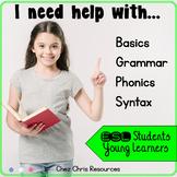 English Grammar Practice , phonics & Vocabulary Activities - ESL Newcomer BUNDLE