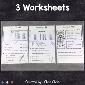 English grammar verb BE - Worksheets and Clothespin Clip Cards
