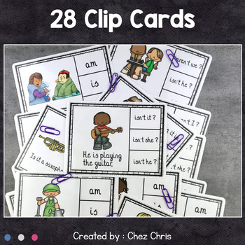 English grammar verb BE Worksheets and Clothespin Clip Cards