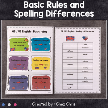 Worksheets and Clothespin  Clip Cards - British English and American English