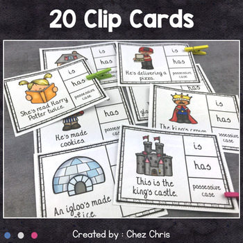 Worksheets and Clothespin Clip Cards - Contractions