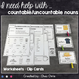Worksheets and Clothespin  Clip Cards - Countable and Uncountable Nouns !
