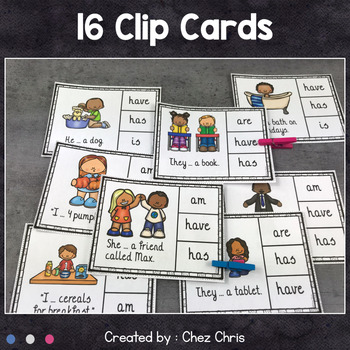 English Grammar Verb Have Worksheets and Clothespin Clip Cards