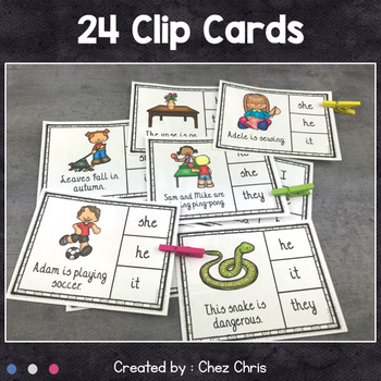 Worksheets and Clothespin Clip Cards - Personal Pronouns