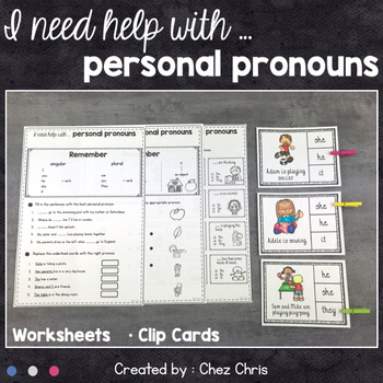 Personal Pronouns Worksheets and Clothespin Clip Cards