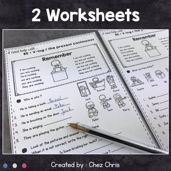Worksheets and Clothespin Clip Cards - Present BE+V-ing / Present Continuous