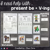 Present BE+V-ing / Present Continuous Worksheets and Matching Game