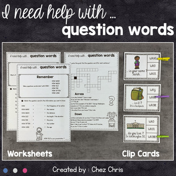 Worksheets and Clothespin Clip Cards - Question Words