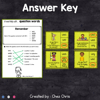 Question Words Worksheets and Clothespin Clip Cards