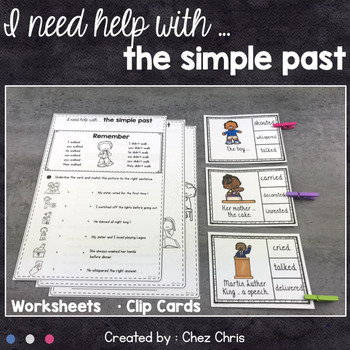 Worksheets and Clothespin Clip Cards - Simple Past, Regular Verbs
