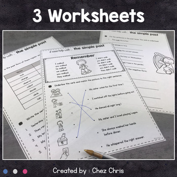 Simple Past, Regular Verbs Worksheets and Clothespin Clip Cards