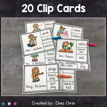 Worksheets and Clothespin Clip Cards - Simple Present