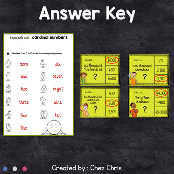 Worksheets and Clothespin Clip Cards - Cardinal Numbers