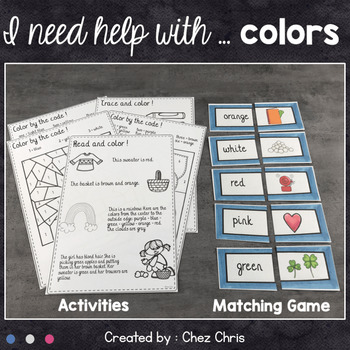 Worksheets and Clothespin  Clip Cards - Colors