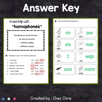Worksheets and Clothespin  Clip Cards - Homophones