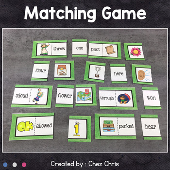 Worksheets and Matching Game - Homophones