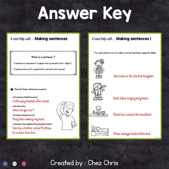 Worksheets and Clothespin Clip Cards - Making Sentences Vol 1