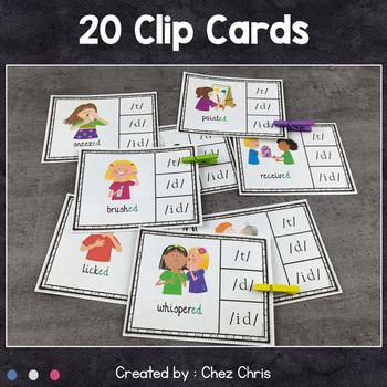 Worksheets and Clothespin Clip Cards - The Pronunciation of -ED