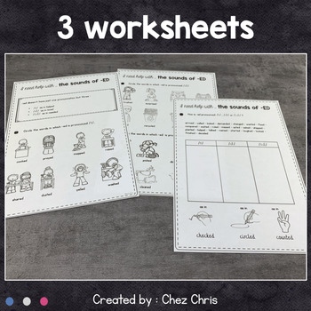 Worksheets and Clothespin Clip Cards - Sounds of -ED
