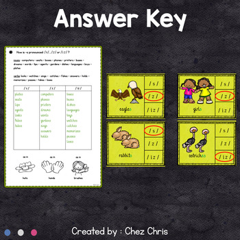 Worksheets and Clothespin Clip Cards - The Pronunciation of -S