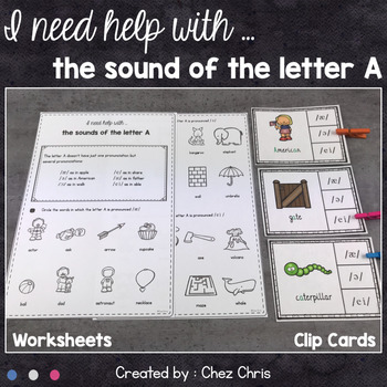 Worksheets and Clothespin Clip Cards - The Pronunciation of the Letter A