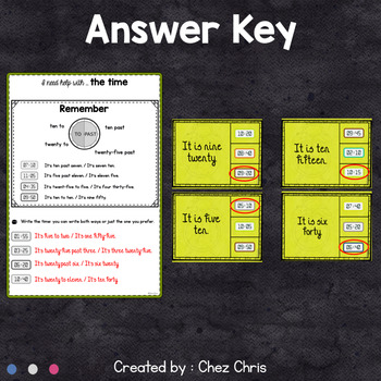 Worksheets and Clothespin Clip Cards - The Time