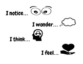 """I notice, wonder, think and feel  """"thinking readers"""" chart"""