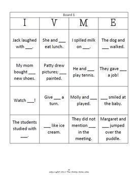 I or Me? Bingo Grammar Game (freebie)