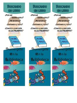 I pick a book bookmark in Spanish