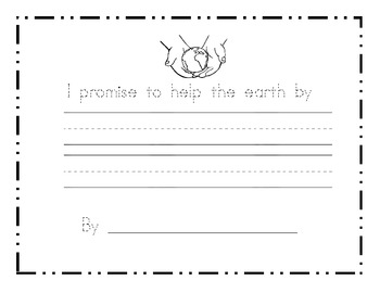 i promise to help the earth by earth day writing prompt paper