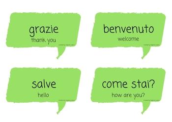 I saluti Italian greetings flash cards