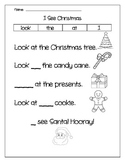 I see Christmas Missing Sight Words for Kindergarten