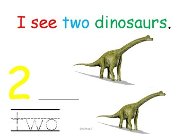 I see dinosaurs. Count and trace numbers 1-10.