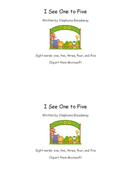 I see one to five sight word book Kindergarten little reader