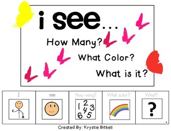 I see...How Many? Color? What? Butterfly Adapted Book Special Education Autism
