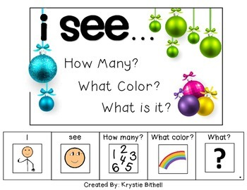 I see...How Many? Color? What? Ornament Adapted Book Special Education Autism