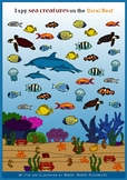 I spy game - Find and count sea creatures on the coral reef