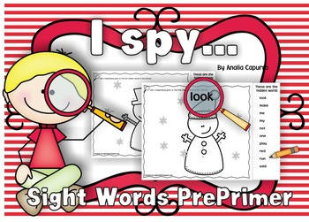 I spy..Sight Words Pre-Primer list