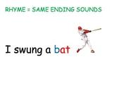 I swung a bat- rhyming poster/chant