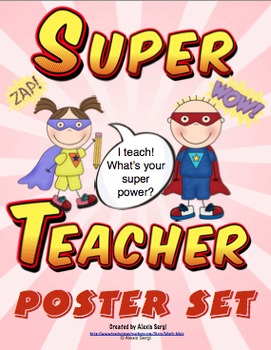 I teach! What's your super power? Poster Set by Math Mojo | TpT