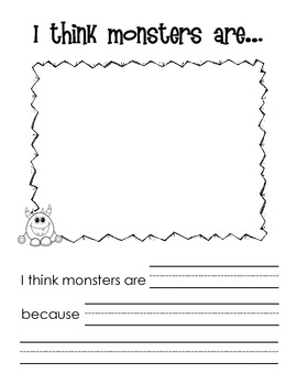 I think monsters are... Opinion Writing Worksheets