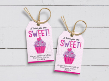 I think you are Sweet Gift Tag, Editable Cupcake Valentine's Day Favor Treats