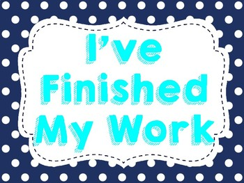 I've Finished Work - Middle School Activities