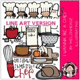 Chef clip art - LINE ART- by Melonheadz