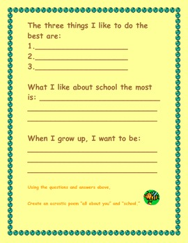 "I want to ""Bee"" Me -  All About Me Activity Sheets"