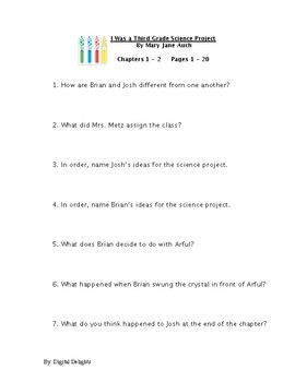 I was a Third Grade Science Project Reading Comprehension Questions