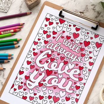 "I will always love you - Coloring Page | Printable 8.5x11"" PDF coloring page"